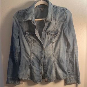 Blue jean button up top